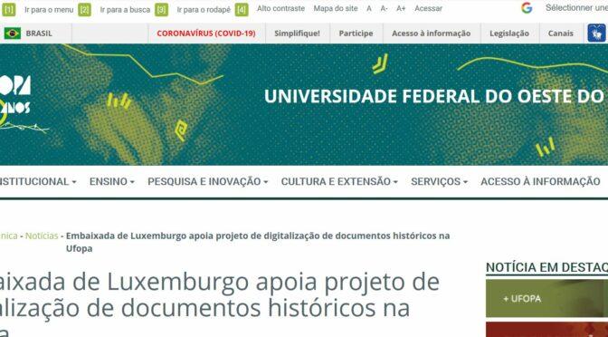 Embaixada de Luxemburgo apoia projeto de digitalização de documentos históricos na Ufopa