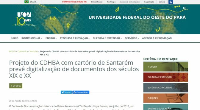 Projeto do CDHBA com cartório de Santarém prevê digitalização de documentos dos séculos XIX e XX